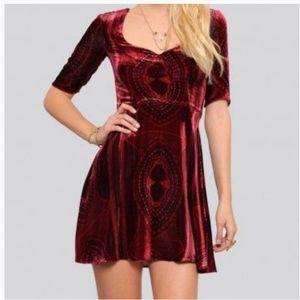 For Love & Lemons Red Velvet Florence Flare Dress